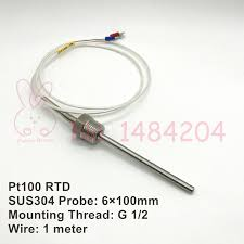 compare prices on 2 wire rtd online shopping buy low price 2 wire 16 Ohms 2wire Rtd 1x pt100 temperature sensor 6mm*100mm rtd sus304 probe with g 1 2 mounting