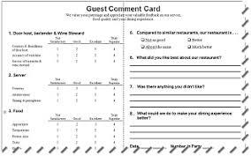 Restaurant Comment Card Under Fontanacountryinn Com