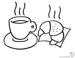 Disegno Di Cornetto E Caffè Da Colorare Per Alunni Stranieri