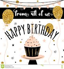 Happy Birthday Vector Card Background With Golden Balloons And