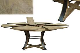 Industrial Style Round Dining Table Jupe Table Transitional Jupe Table With Hammered Iron Gray Oak