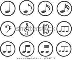 Treble Clef Music Grey Icons Music Treble Clef Bass Stock Vector Royalty Free