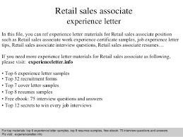Retail sales associate experience letter In this file, you can ref  experience letter materials for ...