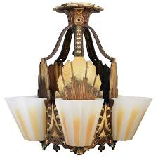 williamson art deco slipper shade chandelier circa 1928 for
