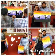 this couple proves it those who paint together stay together he surprised her at painting with a twist in ann arbor mi and she said yes