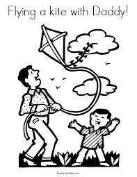 Small Picture Flying a kite with Daddy Coloring Page Twisty Noodle