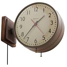 modern double sided wall clock of simplex in brown with walnut backplate circa