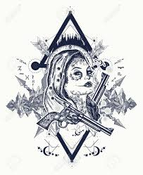 Mexican Criminal Tattoo Art And T Shirt Design Wild West Woman