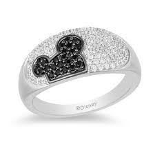 Mickey Mouse Minnie Mouse 1 2 Ct T W Enhanced Black And White Diamond Ring In Black Sterling Silver Size 7