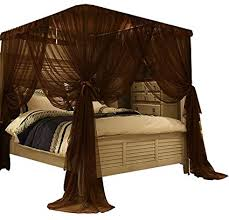 Mengersi Princess 4 Corners Post Bed Canopy Bed Curtains Mosquito Netting (California King, Coffee)