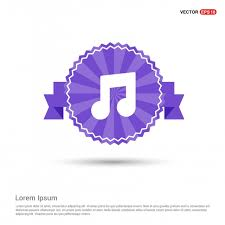 Purple Ribbon Banner Music Note Icon Purple Ribbon Banner Acoustic Band Banner