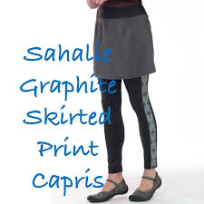 Sahalie Graphite Skirted Print Capris New In Bag Nwt