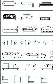 sofas elevation cad blocks