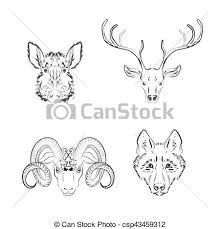 Set Of Animals Sketches Deer Wild Boar Wolf Longhorn Sheep