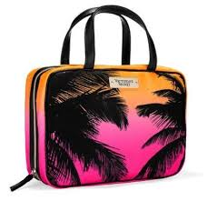 victoria secret hanging travel tote bag weekender cosmetic carrier palm tree trees hawaii caribbean cruise closed 10 x x 6 small zip pocket with hanger