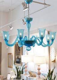 hand blown murano glass chandelier in translucent cerulean with eight branches and gorgeous texture height