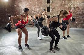 weight group gym group with weight lifting workout stock image image of group