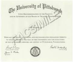 Подтверждение зарубежной ученой степени и звания phd в России Образец диплома Питтсбургского униерситета
