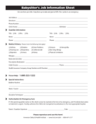 Babysitter Information Sheets Babysitter Information Sheets Tirevi Fontanacountryinn Com