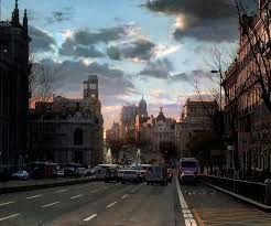 calle alcalá en invierno by modesto trigo born 26 is a spanish painter known for his realistic style his paintings of views of madrid show an acute