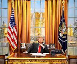 president in oval office. donald trump as president of the united states in oval office