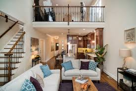 Open floor plan with 2nd-floor balcony at Bolton model.