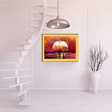 5d diy diamond painting sunset heart tree embroidery cross stitch v6m4 diamond crystal clear