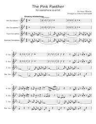alto sax pink panther sheet music the pink panther sax quartet sheet music for alto saxophone tenor
