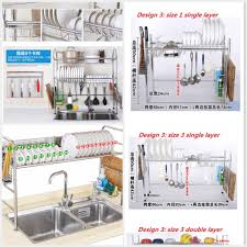 Hanging Dish Drainer Qoo10 Ss304 Drain Rack Dish Racks Basin Stainless Steel Kitchen