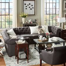 Knightsbridge Tufted Scroll Arm Chesterfield 6-seat L-shaped Sectional by  iNSPIRE Q Artisan (Beige Linen) (Bonded Leather). Living Room GrayLiving ...