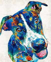 dog painting colorful dog art happy go lucky by sharon mings by sharon