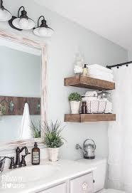 gorgeous wooden open shelving in bathroom blesser house