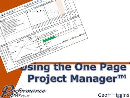 One Pager Project Template Using The One Page Project Manager