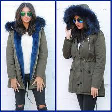 coat one nation clothing parka khaki parka blue parka blue fur fur parka fur collar fur hood coat green parka fur lined jacket coloured fur coat