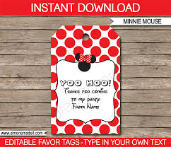 Birthday Tags Template Red Minnie Mouse Birthday Party Favor Tags Thank You Tags