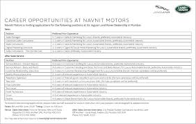 land rover jaguar career opportunities at navnit motors ad