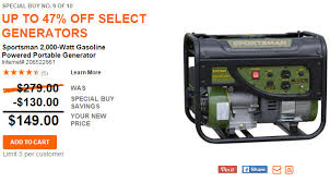 Home Depot Up to 47% f Generators Today ly Starting at $149