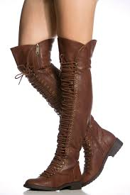 brown skirt thigh high boots
