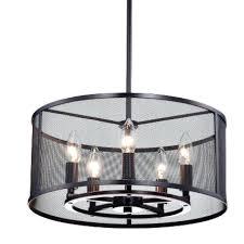 best 5 light pendant light round metal mesh shade 5 light pendant chandelier oil rubbed chesworth