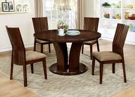 furniture of america cm3711rt 5pc 5 pc montreal i walnut finish wood 54 round