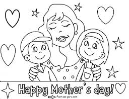 Small Picture Printable Happy mothers day with her children coloring pages