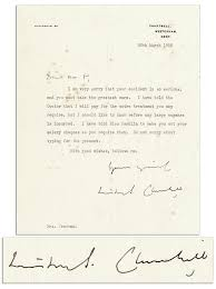 letter expressing concern lot detail winston churchill typed letter signed expressing