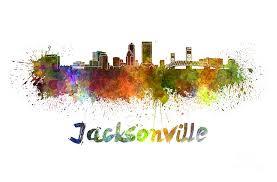 jacksonville florida painting jacksonville skyline in watercolor by pablo romero