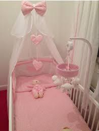 pink gingham cot bedding set