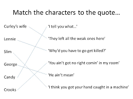 Of Mice And Men Lennie Quotes Cool Of Mice And Men' Revision Quiz Match Up These Characters With