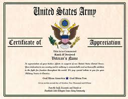 Military Certificate Of Appreciation Template Interesting Veterans Day Appreciation Certificate Templates Army Certificate Of