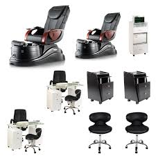 black 2 pacific ax nail salon furniture package deal with 2 manicure stations image