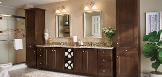 Korbett dark Maple bathroom cabinets in Umber