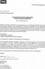 43fp110 Led Tv Cover Letter Confidentiality Request Tte