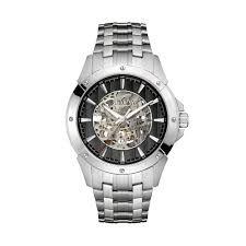 men s stainless steel automatic skeleton watch 96a170 bulova men s stainless steel automatic skeleton watch 96a170